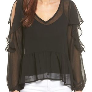 Halogen cold shoulder sheer top — LIKE NEW!